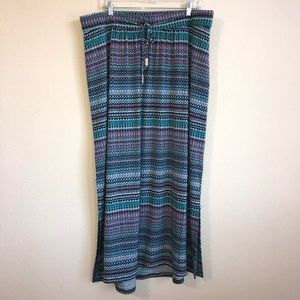 Lane Bryant Maxi Skirt With Side Slits & Tie Waist